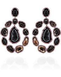 Kimberly Mcdonald One Of A Kind Dark Geode and Pink Sapphire Lever Back Earrings - Lyst