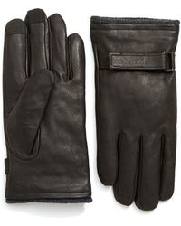 Calvin Klein - Belted Leather Gloves With Touchtips - Lyst