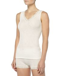Hanro Lace-trimmed Wool-silk Tank Top - Lyst