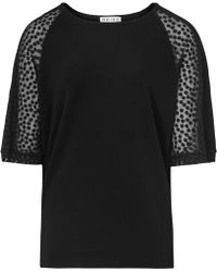 Reiss 1971 Hermione Sheer-Sleeve Top black - Lyst