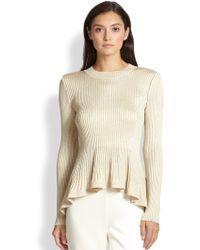 St. John Shimmer Ribbed Peplum Sweater - Lyst