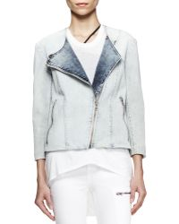 Helmut Lang Faded Denim Moto Jacket  - Lyst