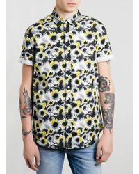 Topman Grey Grunge Sunflower Short Sleeve Shirt - Lyst