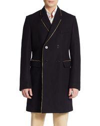 Versace Zipper-trim Wool-blend Coat - Lyst