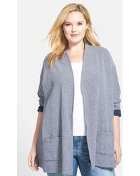 Sejour Mini Stripe Cotton Open Front Cardigan - Lyst
