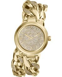 Michael Kors Womens Ellie Pavè Goldtone Stainless Steel Double Link Bracelet Watch 38mm - Lyst