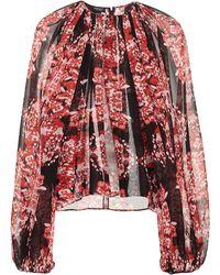 Giambattista Valli Red Long Sleeve Printed Blouse - Lyst