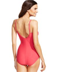 INC International Concepts - Pleated One-Piece Swimsuit - Lyst