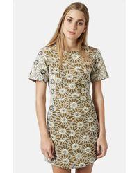 Topshop Daisy Jacquard Dress beige - Lyst