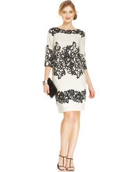 Adrianna Papell Three-Quarter-Sleeve Lace-Print Shift - Lyst