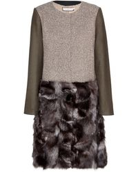 Tory Burch Thea Wool-blend Coat with Fur Trim - Lyst