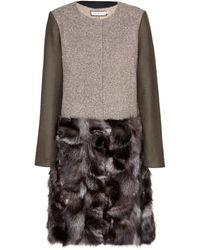 Tory Burch Thea Wool-blend Coat with Fur Trim - Lyst