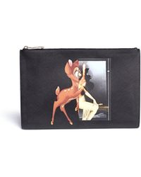 Givenchy Bambi Collage Print Medium Flat Zip Pouch black - Lyst
