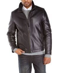 Cole Haan Pebbled Leather Jacket - Lyst