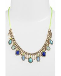 Kent & King - Jeweled Frontal Necklace - Turquoise/ Gold - Lyst