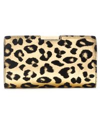 Milly Gold Leopard Small Frame Clutch - Lyst