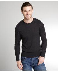 Burberry Brit Dark Grey Cashmere-Cotton Blend Crewneck Sweater - Lyst