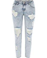River Island Acid Wash Ripped Eva Girlfriend Jeans - Lyst
