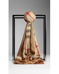 Burberry Metallic Haymarket Check Border Scarf - Lyst