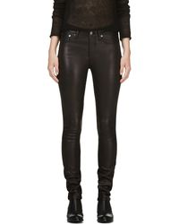 Helmut Lang Black Leather and Twill Halo Jeans - Lyst