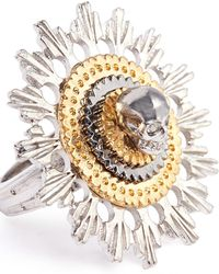 Alexander McQueen Skull and Flower Ring - Lyst