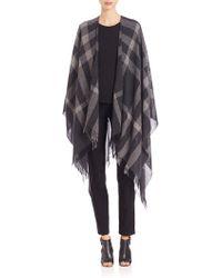 Eileen Fisher | Wool & Cashmere Plaid Poncho | Lyst