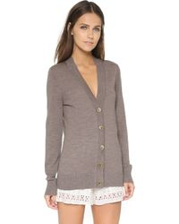 Tory Burch - Simone Cardigan - Warm Grey Melange - Lyst