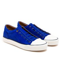 Lanvin Blue Suede Trainers - Lyst