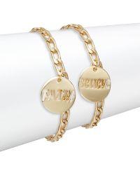 Cara - Affirmation Charm Bracelet Set/goldtone - Lyst