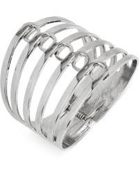 Steve Madden Silver-tone Multi-row Hinge Bangle Bracelet - Lyst