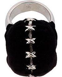 Alexander McQueen Black Silver and Velvet Luchador Skull Ring - Lyst
