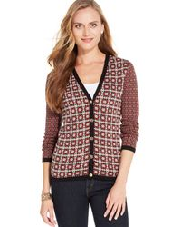 Jones New York Signature Petite Mixedprint Vneck Cardigan - Lyst