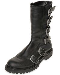 Belstaff Crossdale Leather Canvas Biker Boots - Lyst