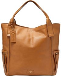 Fossil Emerson Leather Tote beige - Lyst