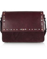 Isabel Marant Laura Studded Leather and Suede Shoulder Bag - Lyst