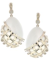Slane - Crescent Weave White Onyx & Diamond Earrings - Lyst