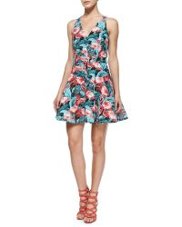 Elle Sasson Abigale Flamingo-Print Twill Dress - Lyst