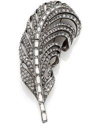 Oscar de la Renta Pave Crystal Feather Pin - Lyst