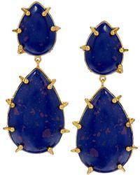 Kasturjewels - 22kt Gold Plated Electric Blue Stone Earrings - Lyst