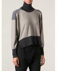 Mm6 By Maison Martin Margiela Tricolour Turtle Neck Sweater - Lyst