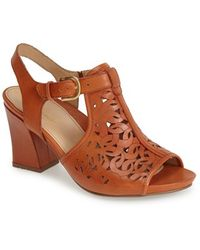 Earthies® 'Acadia' Leather Open Toe Sandal brown - Lyst