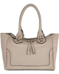 River Island Grey Leather Textured Panel Tote Bag - Lyst