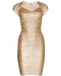 Hervé Léger Tejana Coated Metallic Bandage Dress - Lyst