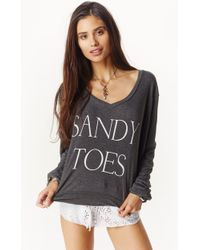 Wildfox Sandy Toes V-Neck Sweater gray - Lyst