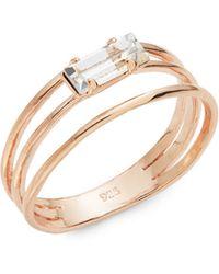 Bing Bang Triple Band Swarovski Crystal Baguette Ring