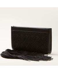 The Row Black Leather Clutch - Lyst