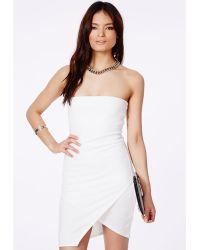 Missguided Kacita White Bandeau Wrap Mini Dress - Lyst