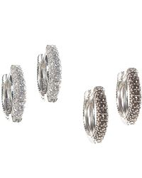 Judith Jack - Silver Marcasite Huggie Earrings - Lyst