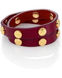 Tory Burch Doublewrap Saffiano Leather Logo Bracelet - Lyst