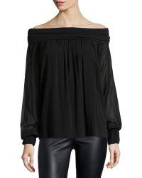 Donna Karan New York Stretch-georgette Off-the-shoulder Top - Lyst